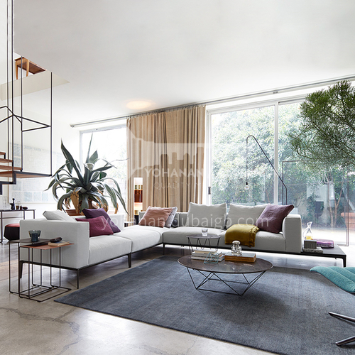 MY-892 High-end Nordic Italian Minimalist Living Room Cotton Linen Fabric Sofa + Seat Bag Down + Armrest Bag Down + Hardware Base