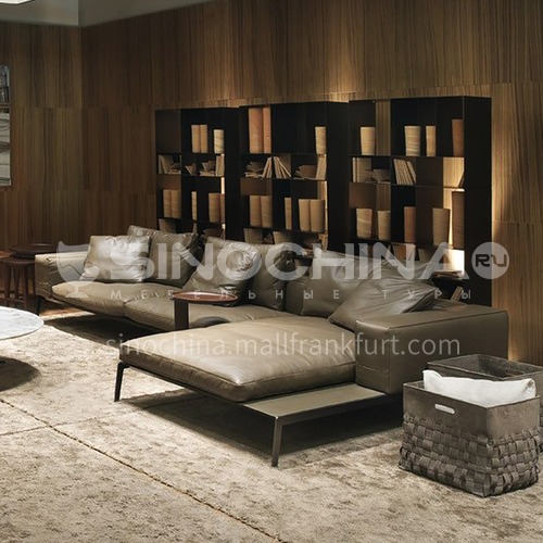MY-1802 high-end Nordic Italian minimalist napa leather living room sofa + leaf pine inner frame + down filling cushion + high resilience sponge seat bag