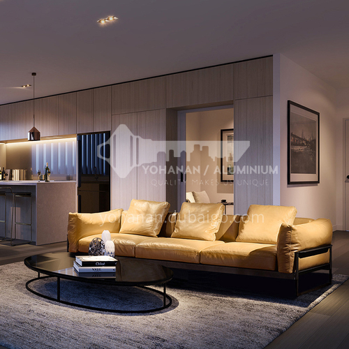 MY-1809 High-end villa living room Nordic Italian minimalist napa leather sofa + leaf pine inner frame + down filling cushion + high resilience sponge
