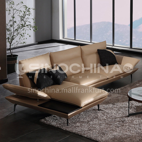 MY-1917 Villa Nordic Italian minimalist high-end living room Nappa leather sofa + leaf pine inner frame + down filling cushion + high resilience sponge seat bag + creative armrests