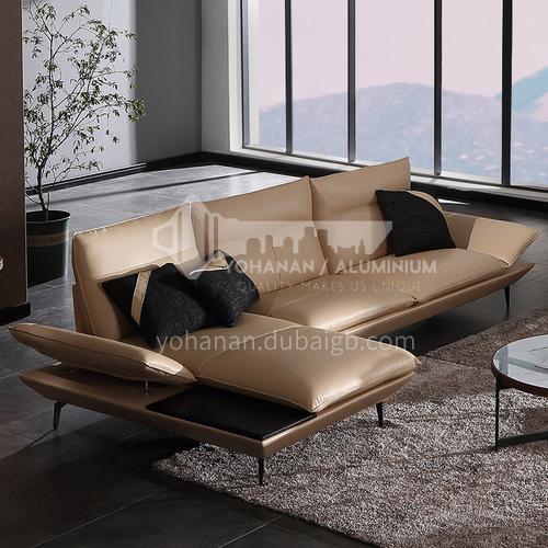 MY-1917 Villa Nordic Italian minimalist high-end living room Nappa leather sofa + leaf pine inner frame + down filling cushion + high resilience sponge seat bag + creative armrests