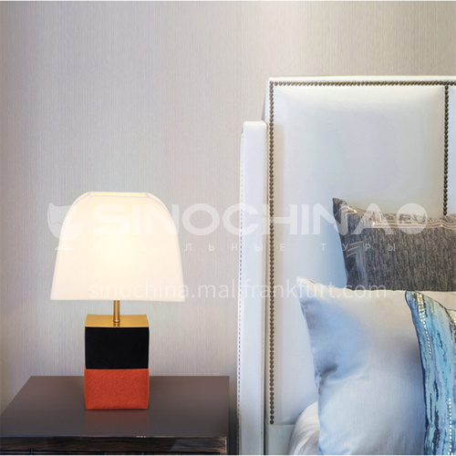 Modern light luxury bedroom bedside lamp European style living room hotel study room lamp creative leather table lamp-JWJ-P100