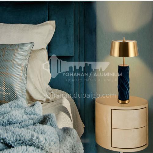 Modern creative blue flannel living room table lamp bedroom bedside desk table lamp-JWJ-T525