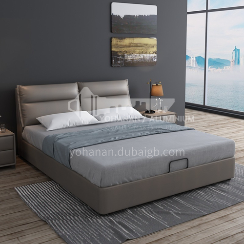 MY-812- Nordic Italian style, pine wood frame, high quality sponge, solid wood row skeleton leather bed