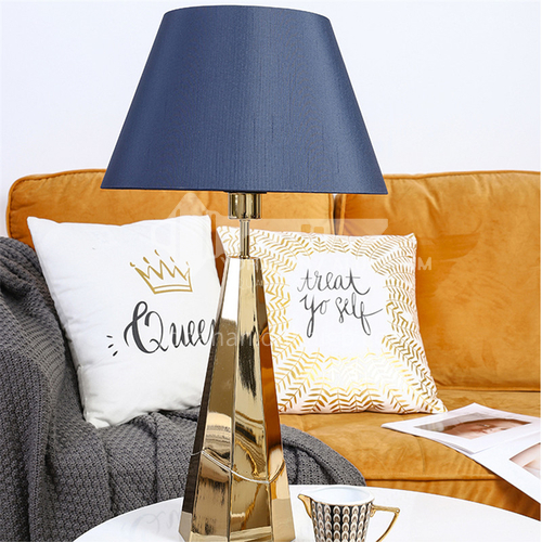 Modern minimalist blue cloth cover table lamp American light luxury metal table lamp-JWJ-T963