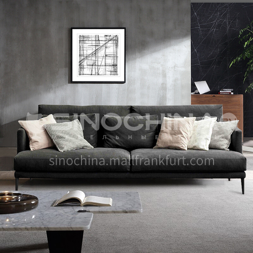 MY-506 living room Nordic modern minimalist removable and washable cotton and linen sofa + pine frame + button design + oak sofa legs + high density sponge + latex layer