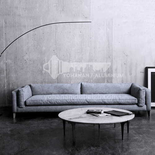 MY-616 Living room Nordic modern minimalist removable and washable cotton and linen sofa + pine frame + button design + oak sofa legs + high density sponge + latex layer
