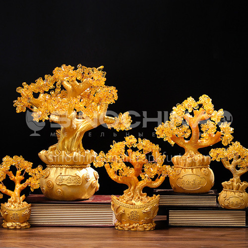 Citrine Fortune Tree Cashew Money Bag Resin Decoration Counter Desktop Fortune Tree Craft Decoration FCS
