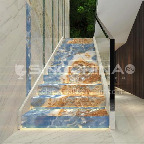 גרם מדרגות ירקן יוקרתי כחול טבעי O-LE95Y