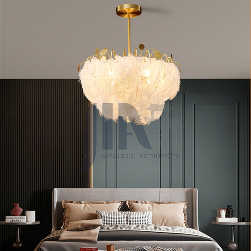All copper creative feather chandelier modern minimalist living room lamp light luxury personality girl room bedroom lamp-ND-8212