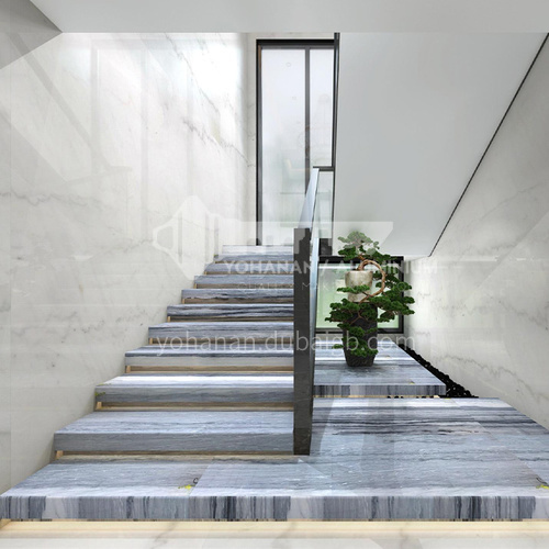 Natural gray modern wood grain marble staircase M-LB90S