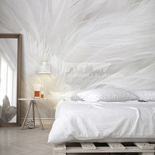 Light luxury style feather pattern background wall wallpaper modern bedroom theme mural BF-YM1