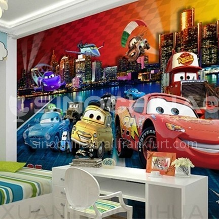 Cartoon style geometry graphic design TV background wall paper modern contracted living room mural FC-QCZDY