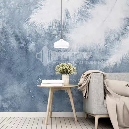 Light luxury style feather pattern background wall wallpaper modern bedroom theme mural BF-YM2