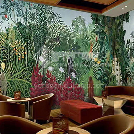 Forest style tree animal graphic design TV background wall paper modern retro living room mural BF-BJY3