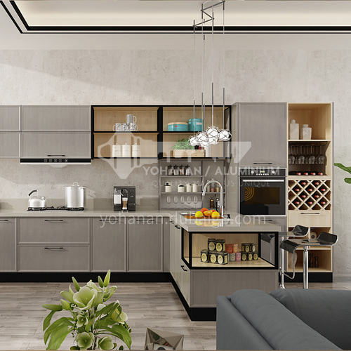 Modern style PVC with HDF simple design kitchen cabinet GK-923