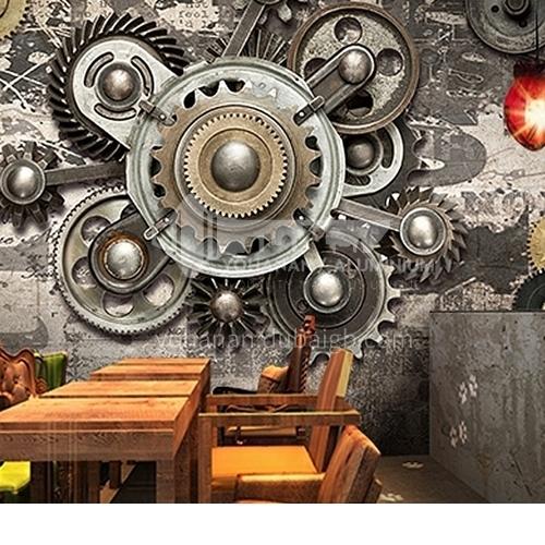 Industrial mechanical style  gear series  TV background wall  coffee shop wallpaper  JSCL