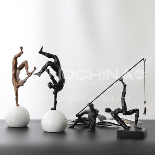 Character porch, metal crafts, home, cast iron, sports figure, desktop wine cabinet, decoration FX-F-BJ01
