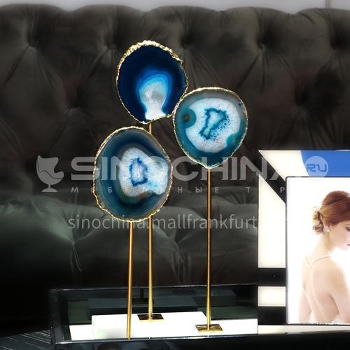 Blue agate stone ornaments home light luxury decoration ornaments entrance FX-H0749