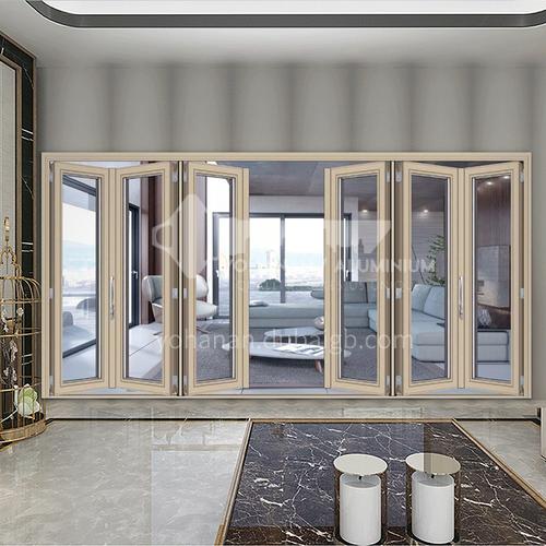 B 2.0mm aluminum alloy double-layer tempered glass soundproof door invisible hinge folding bi-folding door hot sale balcony door