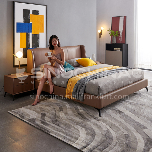 BC-2011-Larch imported from Russia, the first layer of small yellow leather, solid wood board, high-density sponge bag, carbon steel hardware feet light luxury bed