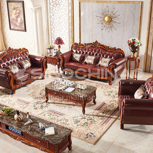 DAJ-105  European-style living room high-end classical leather imitation leather multi-material sofa combination solid wood frame carved high-end living room furniture