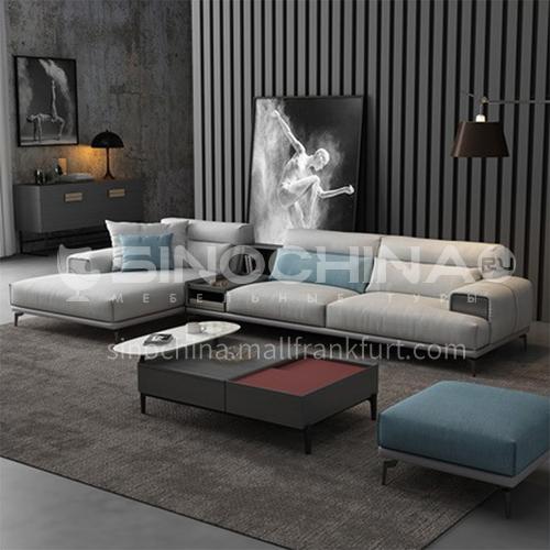 KD-YJ002 Living room leisure wild minimalist linen sofa + sponge 40 density, fine linen cloth, solid wood bark, matte stainless steel