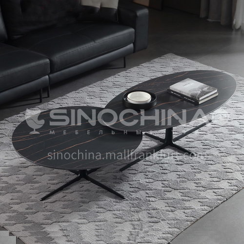 YLX-X23  Living room Italian minimalist creative coffee table combination size round height sandblasting iron + rock board coffee table