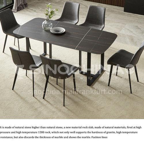YLX-J  Restaurant Nordic light luxury creative design tripod marble, rock slab countertop dining table + iron base