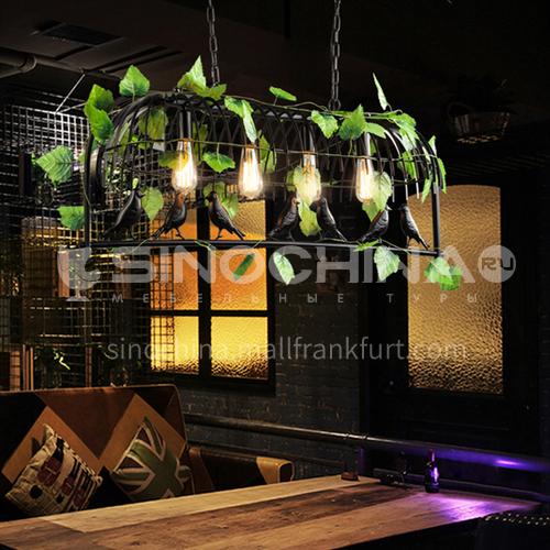 American loft industrial style chandelier bar counter birdcage plant creative personality artist retro restaurant nostalgic lighting WYN-8008-D4