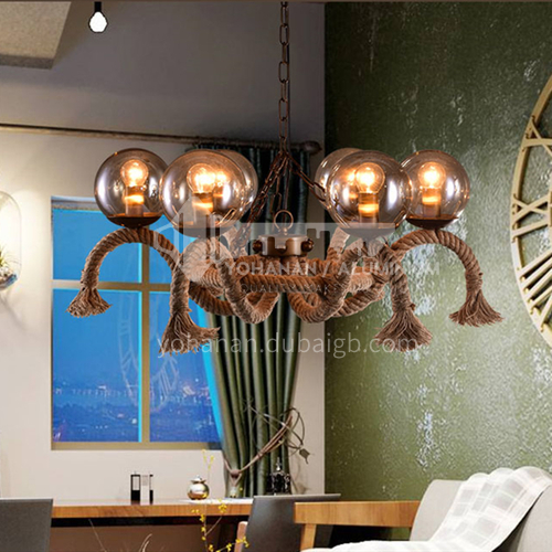 American country industrial style retro nostalgic personality restaurant living room bar diffuse coffee shop clothing store hemp rope chandelier WYN8005-d6