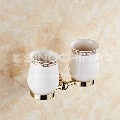 European classical stainless steel golden crystal mouthwash cup holder80104SJ