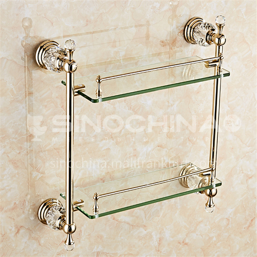 European classic stainless steel gold crystal double-layer shelf80117SJ
