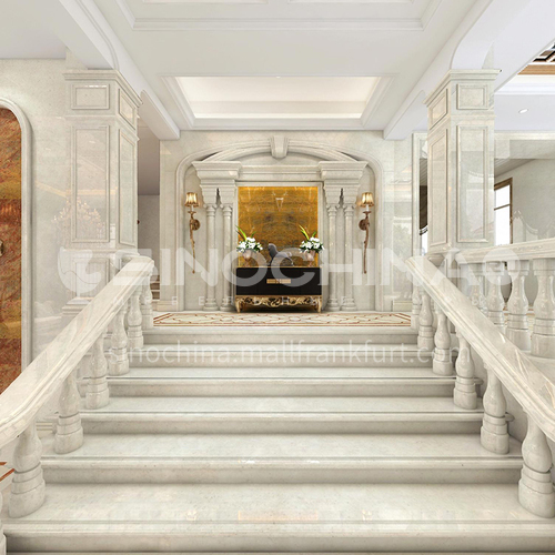 Natural beige European style marble staircase M-XA02M