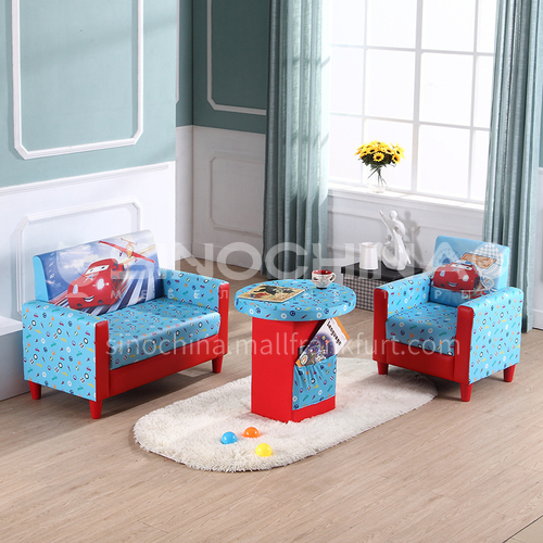 BF-Car-Children's sofa, wooden frame structure, plywood, 20 density sponge and PVC fabric, adjustable conical plastic feet