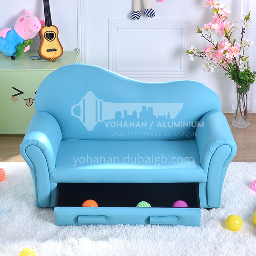 BF-Children's wooden frame structure, high-density sponge with drawers, fashionable curved back sofa