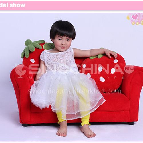 BF-SF-261 Children's Coral Fleece Plastic Foot Fashion Double Strawberry Sofa