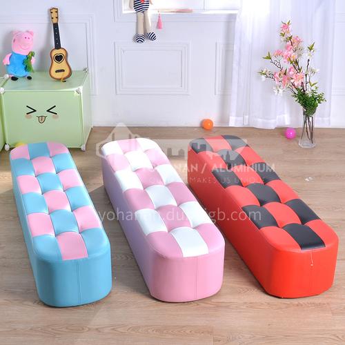 BF-Children's solid wood frame foam cushion fashion long stool