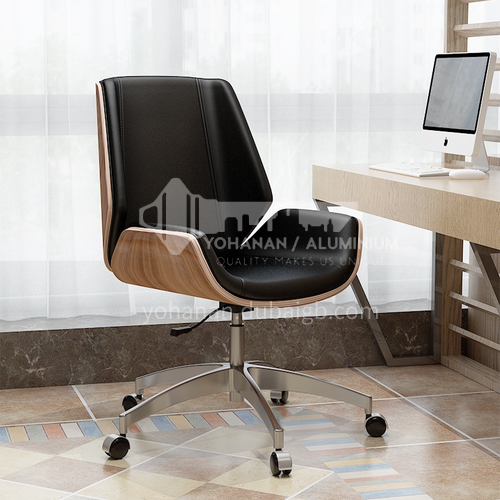 ZYTX-K1617 A B C curved wood solid wood leather pressing board mute PU pulley office chair
