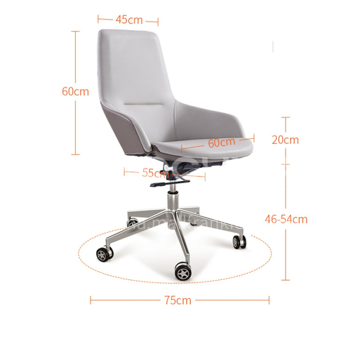 ZYTX-K1703 A B C stereotyped cotton multifunctional tilting chassis with 4-speed locking aluminum alloy cone feet PU universal wheel office chair