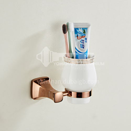 Bathroom simple rose gold stainless steel toothbrush holder single cup80802
