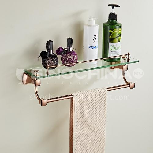 Bathroom simple rose gold stainless steel shelf glass shelf 80816