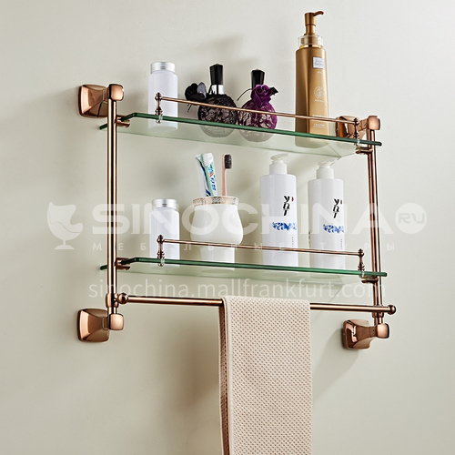 Bathroom Simple Rose Gold Stainless Steel Double Layer Shelves Glass Shelf 80817