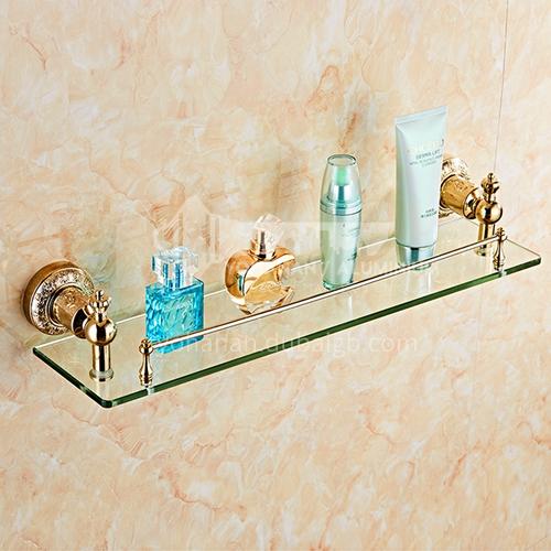 Bathroom carved stainless steel shelf glass panel80216