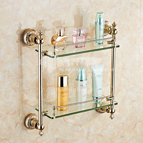 Bathroom carved stainless steel double-layer glass shelf80217