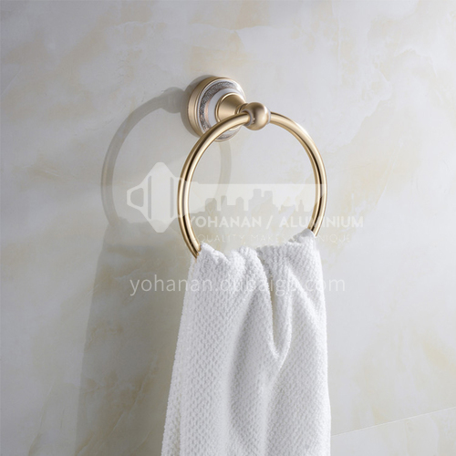 Bathroom champagne gold space aluminum towel ring9105