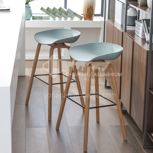 HS-850C Nordic minimalist bar chair with wooden feet, PP injection plastic chair, solid frame, multiple color options