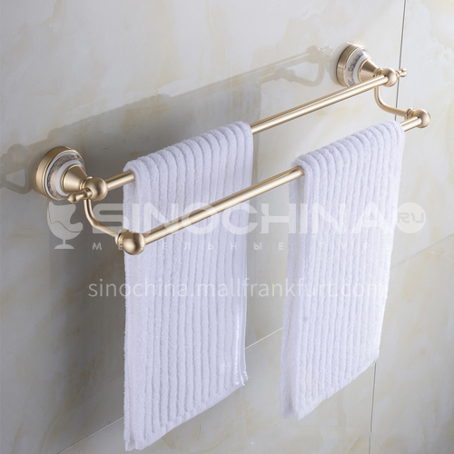 Bathroom champagne gold space aluminum double bar towel rack9112