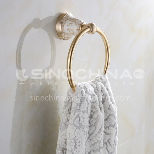 Bathroom champagne gold space aluminum ceramic base towel ring9205