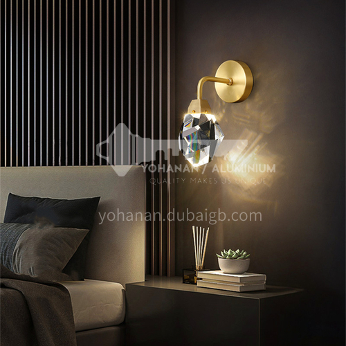 Copper material wall lamp aisle lamp minimalist light luxury wall lamp bedroom bedside Nordic modern minimalist living room wall lamp-AG-LB3145
